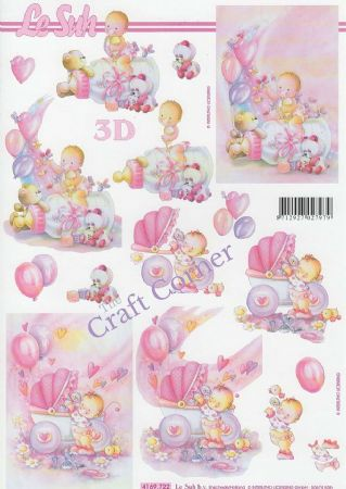 New Baby In Pink Designs 3d Decoupage Sheet